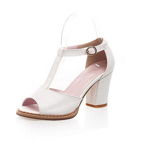 BalaMasa da donna fibbia solido tacchi alti sandali scarpe, Bianco (White), 35