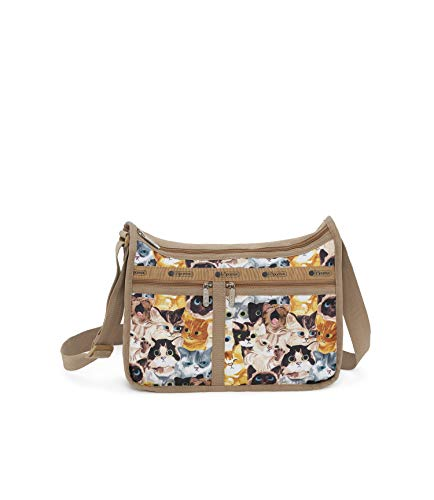LeSportsac Cat Cafe Bene Deluxe Everyday Crossbody Bag + Cosmetic Bag, Style 7507/Color K812