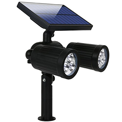 Solar Dual Head (Solar Spotlight, Hallomall Dual Head Adjustable Solar Wall /In-ground 2-in-1 Outdoor Lights, 350Lumens Max 6LED Waterproof Landscape Lighting for Pathway Driveway Deck Lawn)