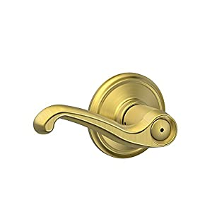 Schlage F40 FLA 608 Flair Lever Bed and Bath, Satin Brass