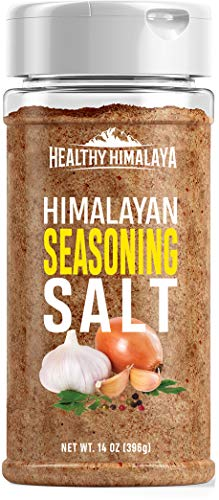 - Healthy Himalaya Himalayan Seasoning Salt - All-Natural, Pure, Pink Salt, Seasoned with Herbs and Spices - All-Purpose Seasoning for Meats, Vegetables, Potatoes, Fish - 14 Ounce Shaker