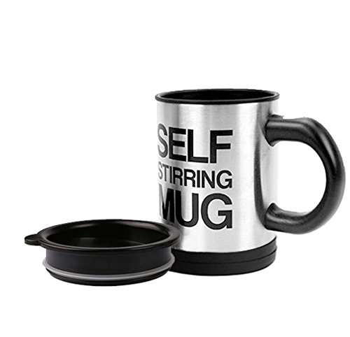 Self Stirring Coffee Mug,Stainless Steel Coffee Mug with lid Self Mixing & Spinning Home Office Travel Mixer Cup 12-16 OZ ()