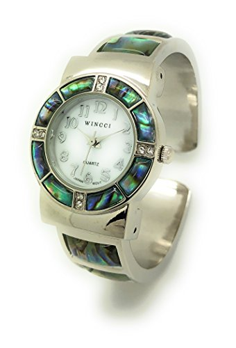 Ladies Silver Metal Bangle Cuff Fashion Watch with Stones Pearl Dial Wincci (Abalone)