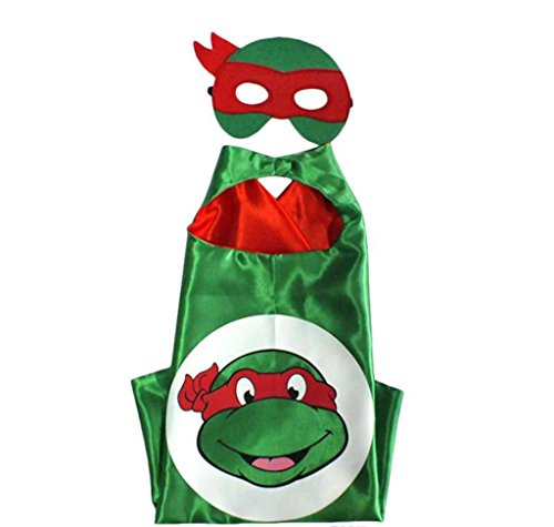 Superman Costume For Teenage Girls (Cartoon Costume - TMNT Raph Turtle Logo Cape and Mask with Gift Box by Superheroes)