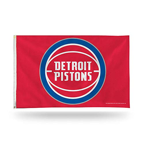 Rico Industries NBA Pistons Detroit 3-Foot by 5-Foot Single Sided Banner Flag with Grommets