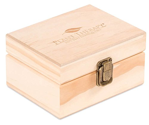 Wooden Essential Oil Box with Plant Therapy Logo - Holds 12 (10-15 ml) - Essential Oil Bottle 12 Scented