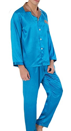 AngelSpace Mens Large Size Charmeuse Premium Slim Casual Sleepwear Set Blue