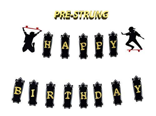 E&L Skateboard Theme Happy Birthday Banner, Skateboard Theme Party Supplies, Skateboard Theme Party Decorations, for Baby Boy Baby Girl 1st Year Birthday Party Decoration-PRE-Strung Banner (Birthday Supplies Skateboard)