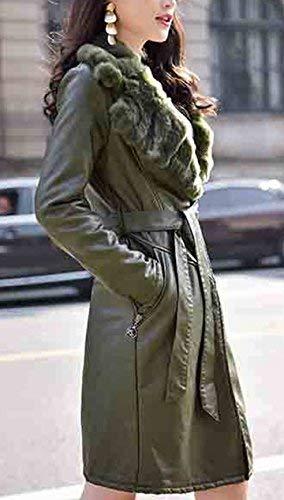 Estilo Fit Donna Con Di Giacca Outerwear Slim Jacket Pelle Finta Fashion Biker Cappotto Pelliccia Termico Invernali Eleganti Collo Armee Grün Giaccone Especial Manica Lunga Calda qaAOa