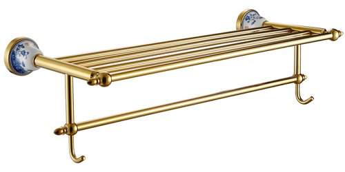 Cloud Power Wall-mounted Double Bath Towel Bar For Bathroom Double Bath Towel Bar Brass Double Bath Towel Bar With Titanium With Blue-White Porcelain Decorated