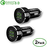 Quick Charge 3.0 Car Charger, 48W 6A Dual QC3.0 Car Charger Compatible for Samsung Galaxy S9+ / S8 / S7 / Note 9, iPhone Xs Max/XR/X / 8+,Google Pixel 3XL and More(2PACK).