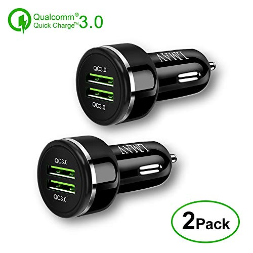 Quick Charge 3.0 Car Charger, 48W 6A Dual QC3.0 Car Charger Compatible for Samsung Galaxy S10 / S9+ / S8 / S7 / Note 9, iPhone Xs Max/XR/X / 8+,Google Pixel 3XL and More(2PACK).