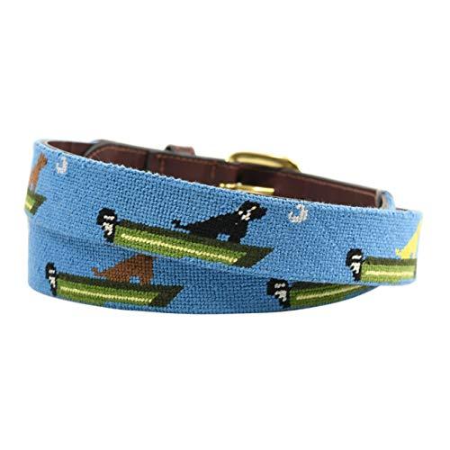 (Charleston Belt Leather Needlepoint Belt with Labrador Retriever Dog and Boat Design (40))