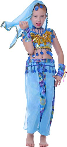Seawhisper Girls Genie Costumes India Outfit Blue for Toddler 6 (Toddler Genie Costumes)