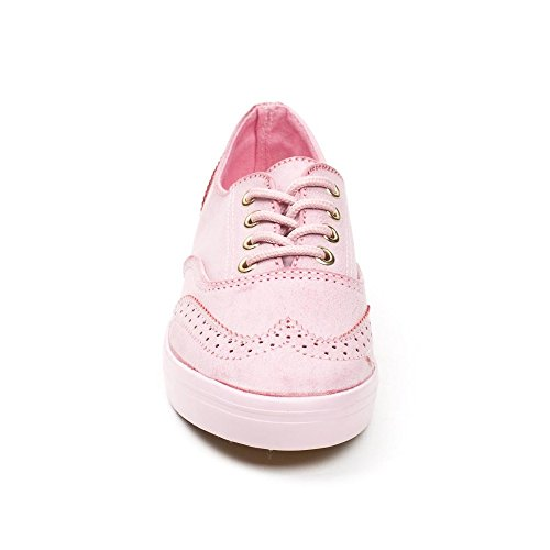 Ideal Shoes Baskets en Similicuir Style Richelieu Montana Rose uudTV