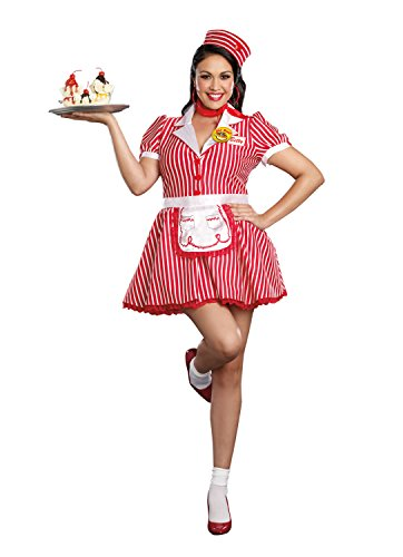 [Dreamgirl Women's Plus-Size Diner Doll Waitress Costume, Red/White, 3X/4X] (Plus Size Costumes 4x)