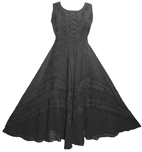 Corset Twirl Sleveless DR Dress Embroidered Gothic Calf Black Smocked Agan Traders 306 q8w66I