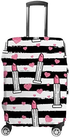 スーツケースカバー 伸縮素材 トランク カバー 洗える 汚れ防止 キズ保護 盗難防止 キャリーカバー おしゃれ 口紅 ピンク ポリエステル 海外旅行 見つけやすい 着脱簡単 1枚入り