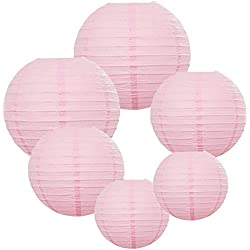 E-MANIS 6 Packs Round Paper Lanterns with Assorted Sizes for Wedding Party Decorations (Pink)