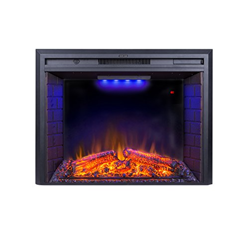 Flameline 33'' Roluxy Electric Fireplace Insert with Log Speaker, Remote Control,750/1500W, Black ()