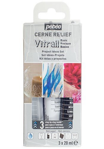 Pebeo 3 x 20 ml Transparent Vitrail Cerne Relief Glass Outliner Set , Basic Black/ Silver 760110