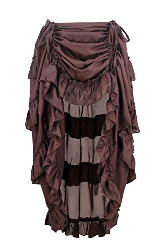 Charmian Women's Steampunk Gothic High Low Cyberpunk Ruffle Skirt Coffee X-Large