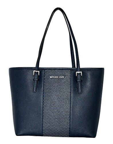MICHAEL Michael Kors Women's Jet Set Travel Micro Stud Leather Carry All Tote Handbag - Blue Light Kors Michael