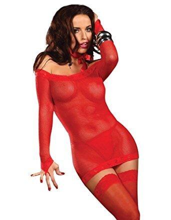 Beauty Night Lingerie BN6237 Margaux Sexy Fishnet Mini Dress Thong Set Red  - S M (UK 6-10)  Amazon.co.uk  Clothing ae286b204