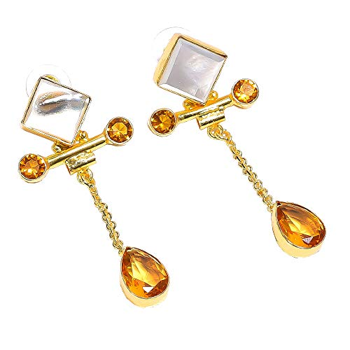 Mop Shell, Citrine Quartz Gemstone Dangle Earrings, Gold Plated Brass Handcrafted Women Jewelry BE681