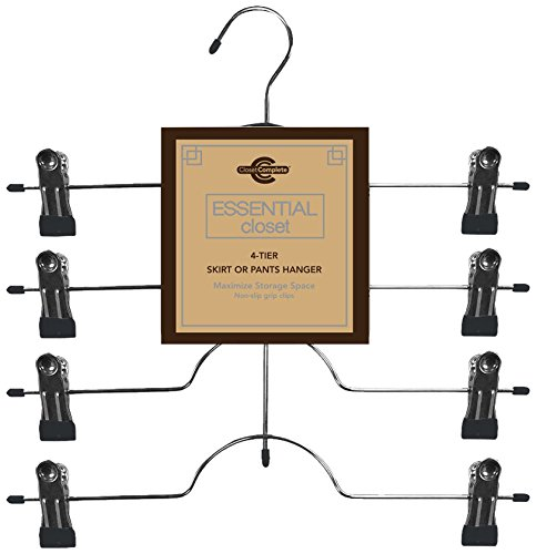 Closet Complete Chrome 4-Tier Skirt/Pants Hanger with Clips, Black, Pack of 24