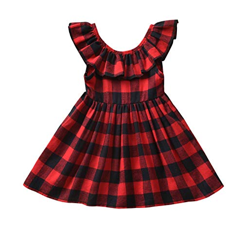 Fioukiay Toddler-Girls-Buffalo -Plaid- Dresses Baby Infant Princess Mini A-line Vintage Overall Dress Clothes (Black-Red Plaid, 1-2T)