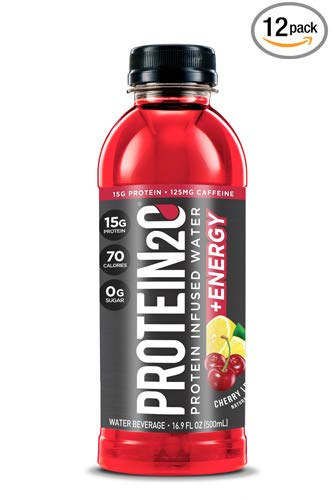 Protein2o + Energy, Low-Calorie Protein Infused Water, 15g Whey Protein Isolate, Cherry Lemonade
