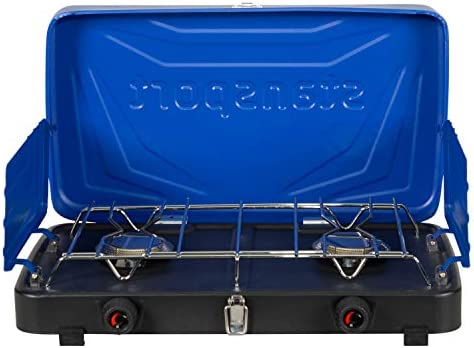 Blue Stansport 2-Burner Regulated Propane Stove