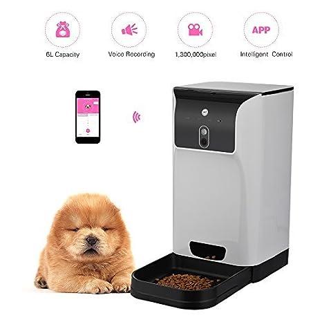 Decdeal - 6L Comedero Automático con Wifi y Cámara Control por la Aplicación Dispensador de Comidas para Perros Gatos: Amazon.es: Productos para mascotas