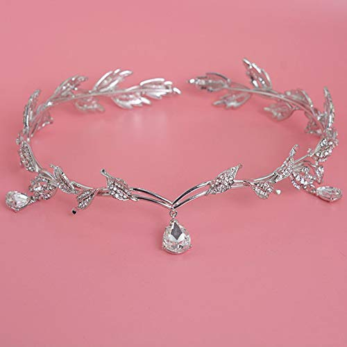 Empress Crystal Pendant - Crown Tiara Diadem Crown Bride Bridesmaid Wedding Hair Accessories Korea Hair Jewelry Women Crystal Drop Pendant Leaves Expensive