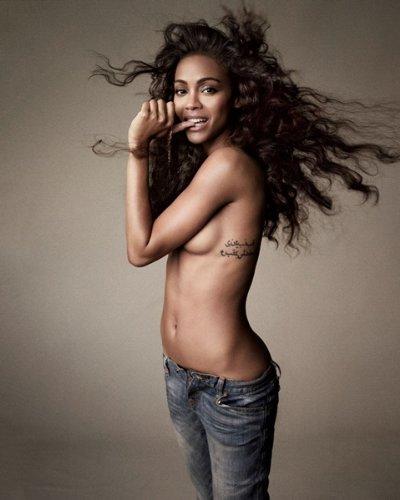 Zoe Saldana Topless Little Jeans 099 8x10 - Saldana Zoe Home