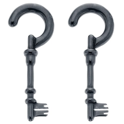 2G Black Acrylic Skeleton Key Spiral Taper Plug Pair by FreshTrends