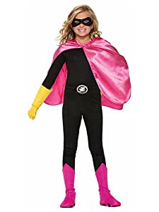 Superhero or Princess CAPE & MASK SET Kids Childrens Halloween Costume (Hot Pink & Silver (Supergirl II))