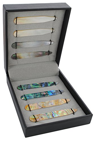 COLLAR AND CUFFS LONDON - 8 Shirt Collar Stiffeners - 4 MOTHER OF PEARL DESIGNS, 2 SIZES - 2.2'' 2.35'' - Green Brown Gold and Black Colours - With Luxury Presentation Gift Box - 4 pairs by COLLAR AND CUFFS LONDON