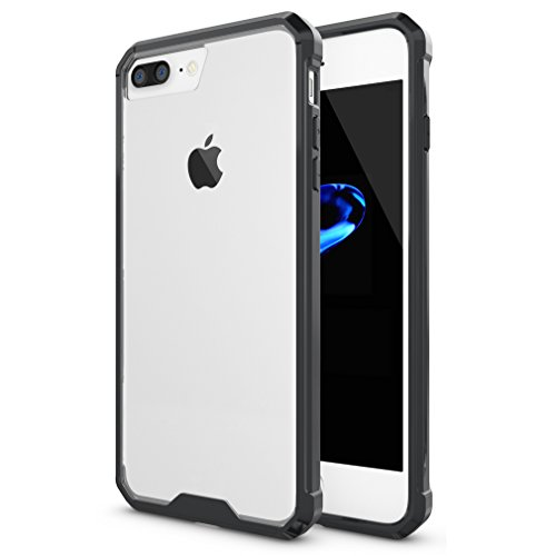 iPhone 7 Plus Case,ESeekGo Armor Case with TPU Frame and Transparent Clear PC Hard Back Cover Shockproof Case (Black)