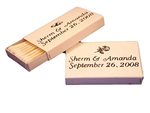 50 Personalized White Cover Wooden Match Boxes Matches - EMAIL OR Call in The Personalization Information ()