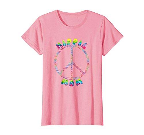 Womens Vintage Retro 1970s Tie Dye Hippie Mom Peace Sign T-Shirt Medium Pink