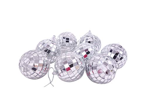Little Patato 24 Pcs Silver 2 Inch Mirror Disco Ball Party Christmas Xmas Tree Ornament Decoration