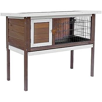 Merax Pet Rabbit Bunny Wood House Hutch with ABS Tray, Auburn