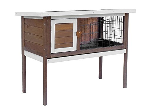 Merax Pet Rabbit Bunny Wood House Hutch with ABS Tray, - Bunny Tray