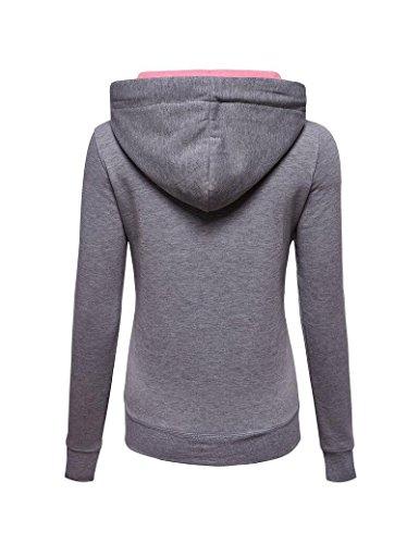 Cerniera misto donne colori moda-Felpe Gray M