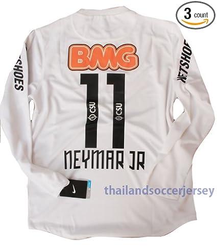 4b298a8a0 New 12-13 Ls Long Sleeve Santos Home Football Shirt Neymar  11 Soccer Jersey