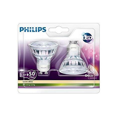 Philips 8718696528334 - Bombilla LED, blanco cálido, consumo 5.3 W, casquillo GU10, paquete de 2 unidades: Amazon.es: Iluminación