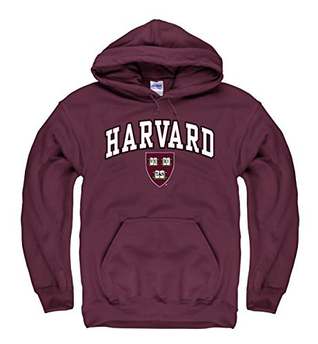 Harvard Crimson Adult Soft Fleece Arch & Logo Game Day Hooded Sweatshirt - Maroon