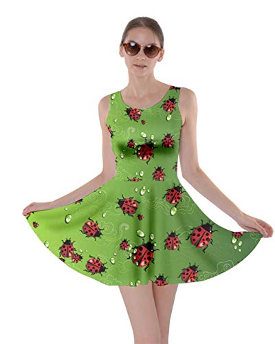CowCow Womens Japanese Print Green Ladybugs Insect Skater Dress - L